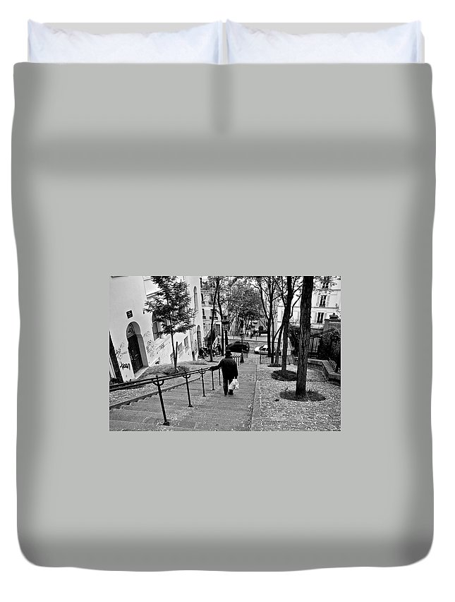 Paris Duvet Cover featuring the photograph Taking The Stairs by Eric Tressler