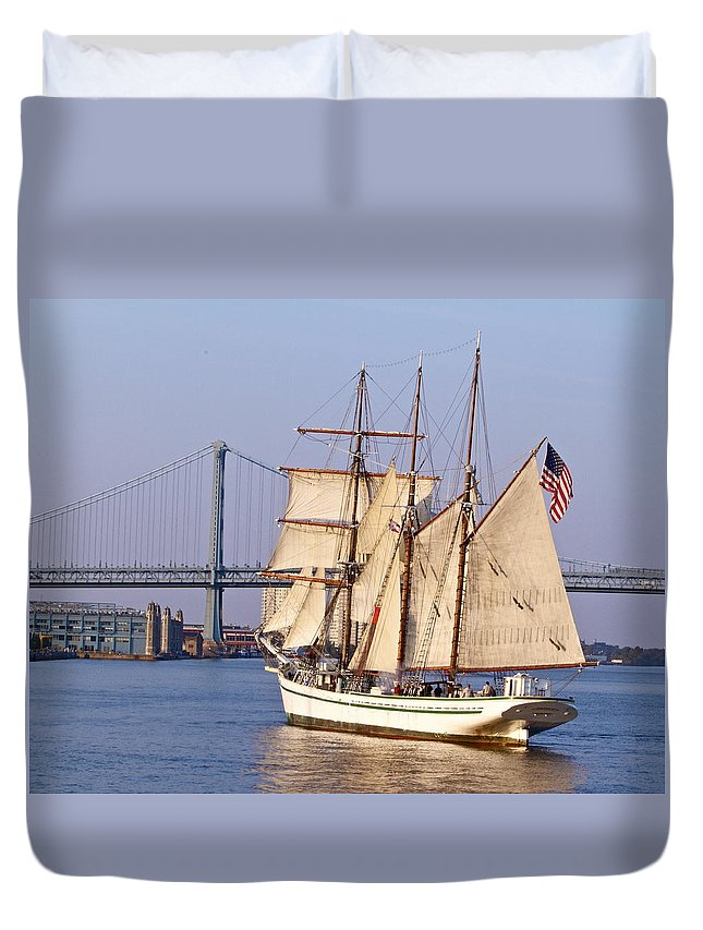 Tall Ship Penns Landing Scenic Waterfront Seaport Philadelphia Duvet Cover featuring the photograph Tall Ship Three by Alice Gipson