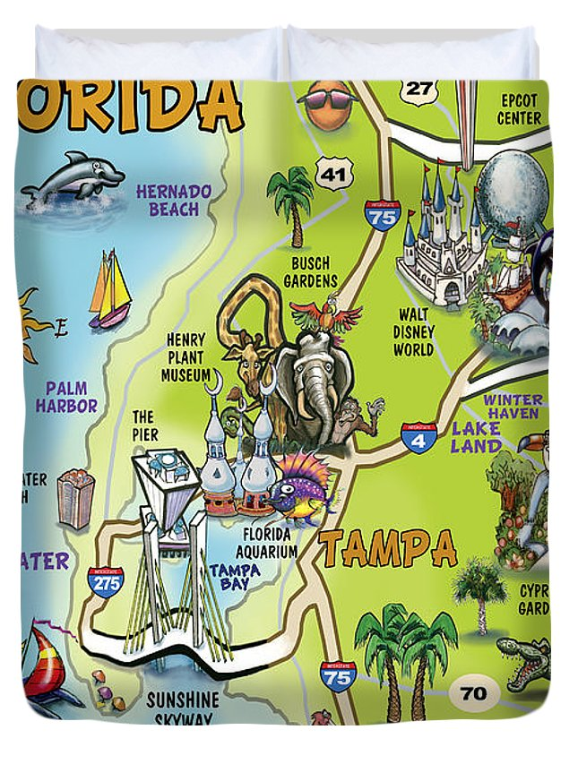 Tampa Florida Map.Tampa Florida Cartoon Map Duvet Cover For Sale By Kevin Middleton