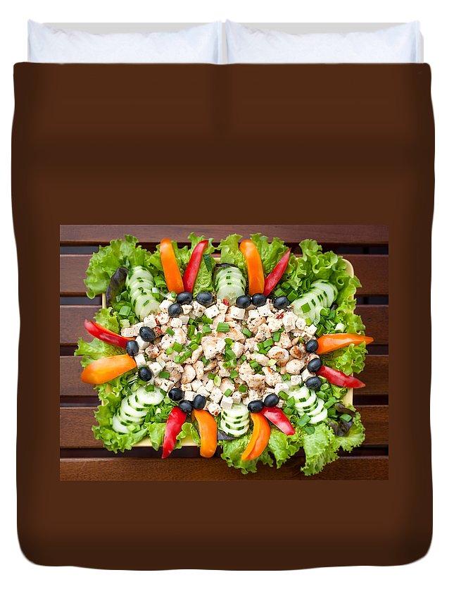 Chicken Duvet Cover featuring the photograph Tasty Chicken Salad by Ari Salmela