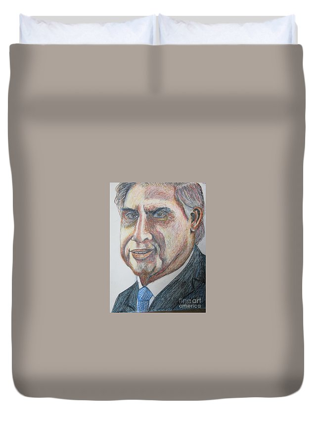 Ratan Tata Duvet Cover featuring the painting Tata by Nedunseralathan R