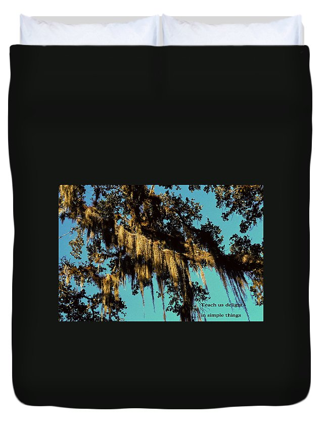 Spanish Moss Hanging From Bald Cypress Tree Branches Duvet Cover featuring the photograph Teach Us Delight by Sally Weigand