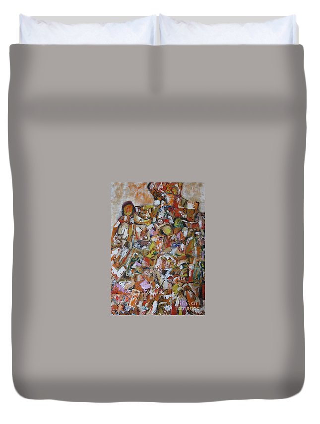 Abstract Duvet Cover featuring the painting Teeming Population by Nedunseralathan R