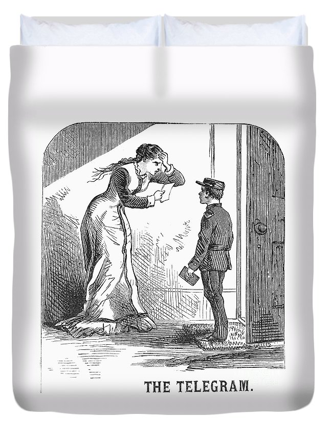 1879 Duvet Cover featuring the photograph Telegram: Death, 1879 by Granger