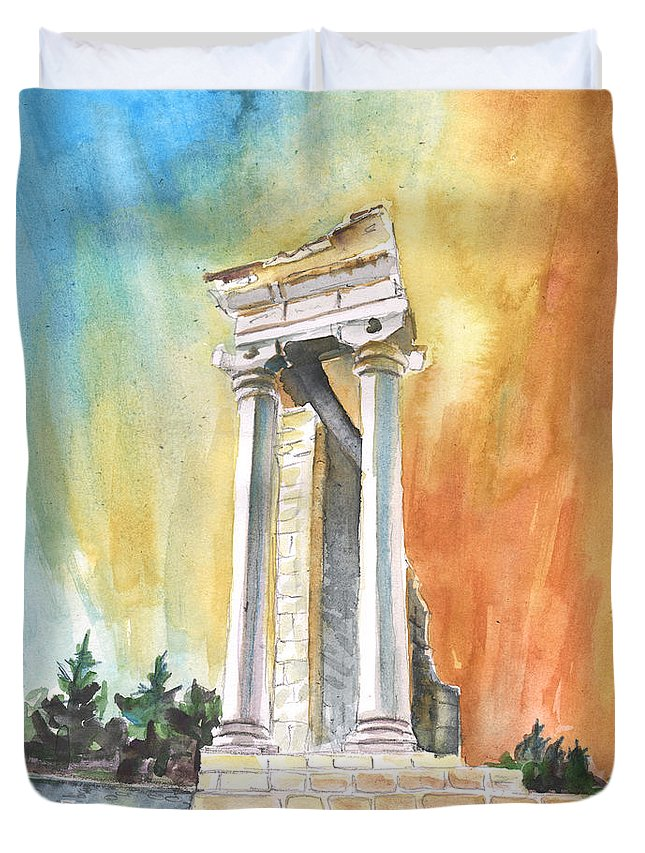 Travel Duvet Cover featuring the painting Temple Of Apollo In Kourion by Miki De Goodaboom
