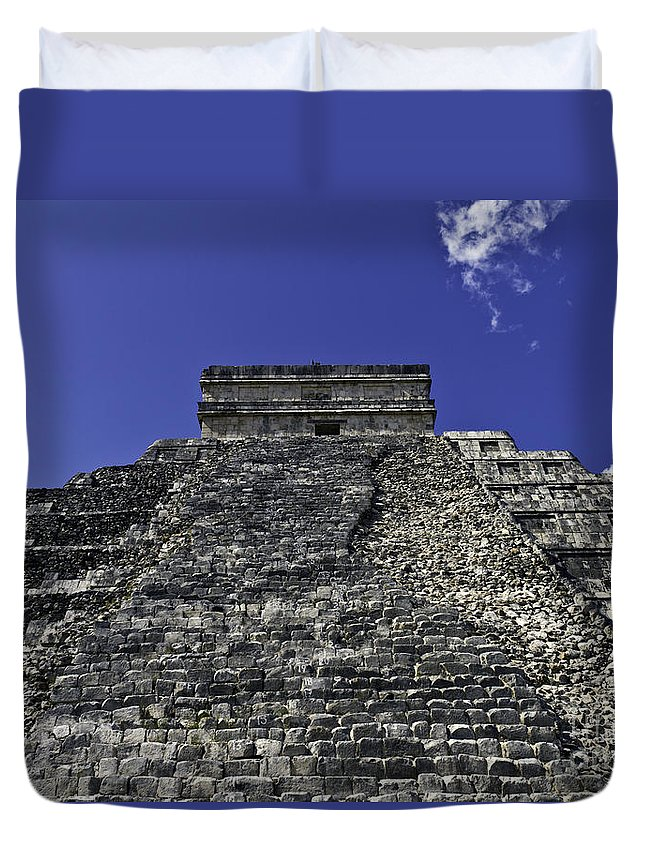 Chichen Itza Duvet Cover featuring the photograph Temple Of Kukulkan Three by Ken Frischkorn