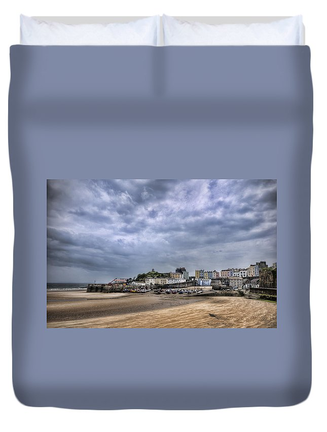 Tenby Pembrokeshire Duvet Cover featuring the photograph Tenby Harbour Low Tide by Steve Purnell