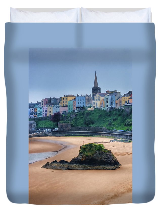 Tenby Duvet Cover featuring the photograph Tenby Over North Beach Painted by Steve Purnell