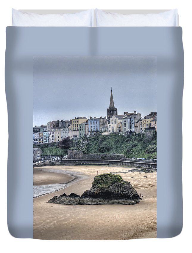 Tenby Duvet Cover featuring the photograph Tenby Over North Beach by Steve Purnell