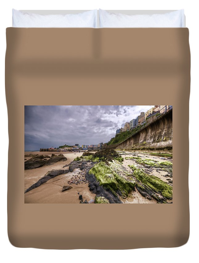 Tenby Pembrokeshire Duvet Cover featuring the photograph Tenby Rocks Painted by Steve Purnell