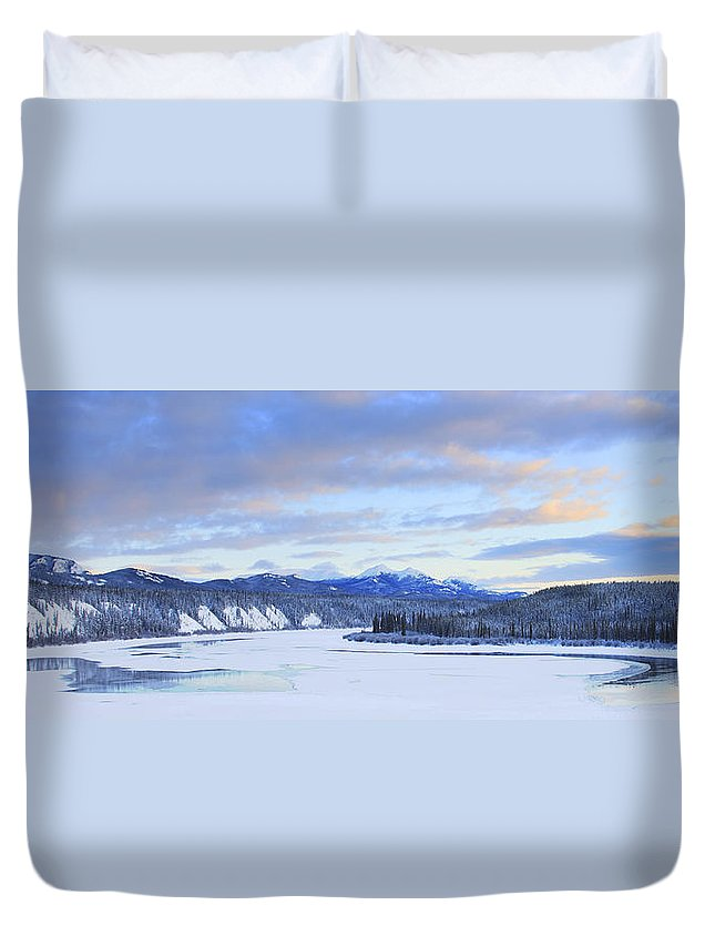 Light Duvet Cover featuring the photograph Teslin River At Sunset, Teslin, Yukon by Robert Postma