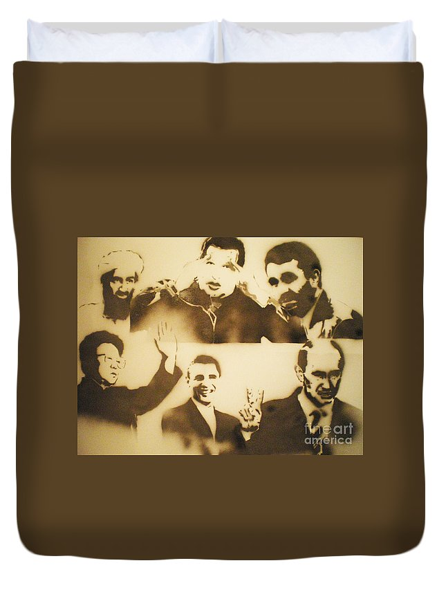 Famous People Duvet Cover featuring the painting test     Leaders by Barry Boom