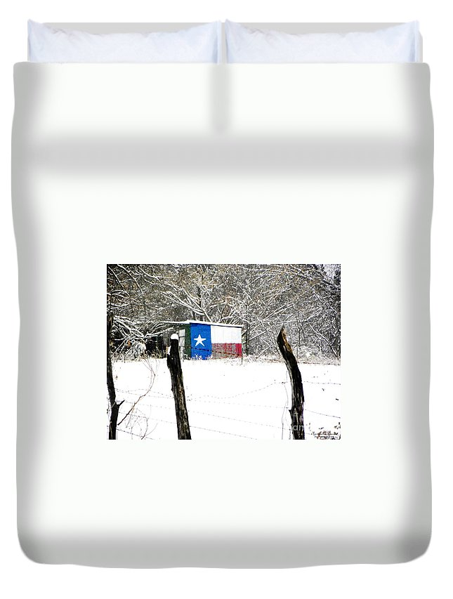 Snow Duvet Cover featuring the photograph Texas Snow by Tisha Clinkenbeard
