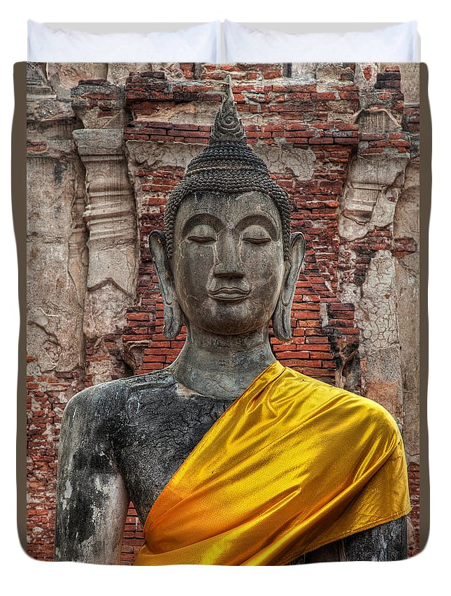 Temple Duvet Cover featuring the photograph Thai Buddha by Adrian Evans