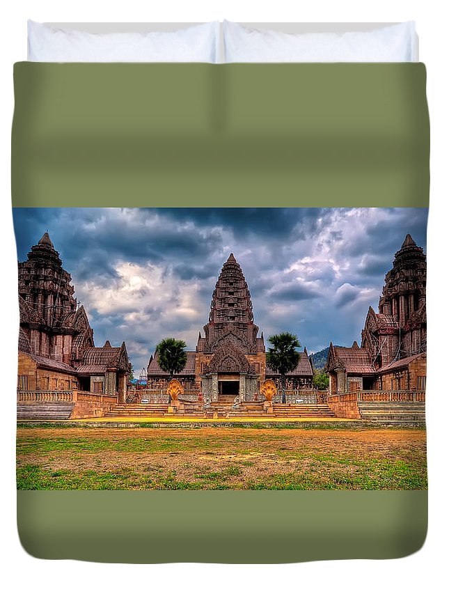Architecture Duvet Cover featuring the photograph Thai Temple by Adrian Evans