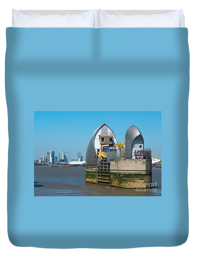 British Duvet Cover featuring the photograph Thames Barrier by Andrew Michael