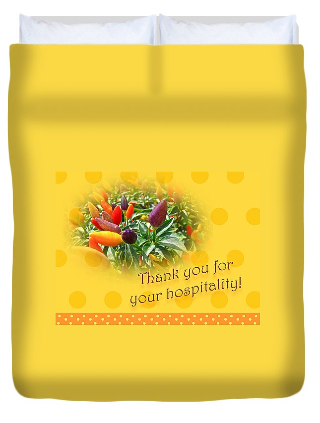 Thank you for your hospitality greeting card decorative pepper thanks duvet cover featuring the photograph thank you for your hospitality greeting card decorative pepper m4hsunfo