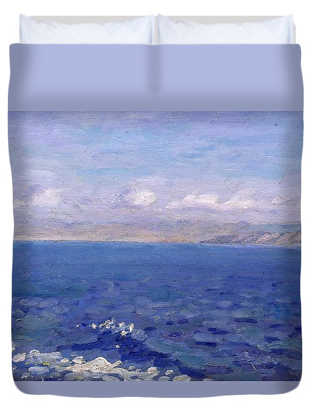 The Albanian Sea Duvet Cover featuring the painting The Albanian Sea by Laurits Regner Tuxen