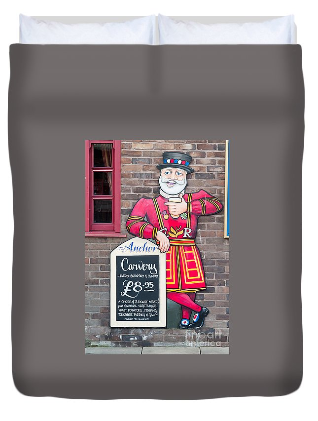 Clarence Holmes Duvet Cover featuring the photograph The Anchor Pub Sign by Clarence Holmes