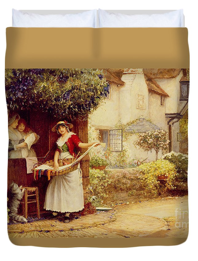 Women; Cottage; Pedlar; Wisteria; Village Life; Cat; Customer; Customers; Birdcage; Commerce; Trade; Traveller; Doorway; Victorian; Selling Songs Duvet Cover featuring the painting The Ballad Seller by Robert Walker Macbeth