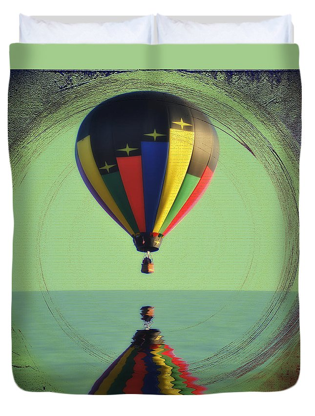 Balloon Duvet Cover featuring the photograph The Balloon And The Sea by Bill Cannon