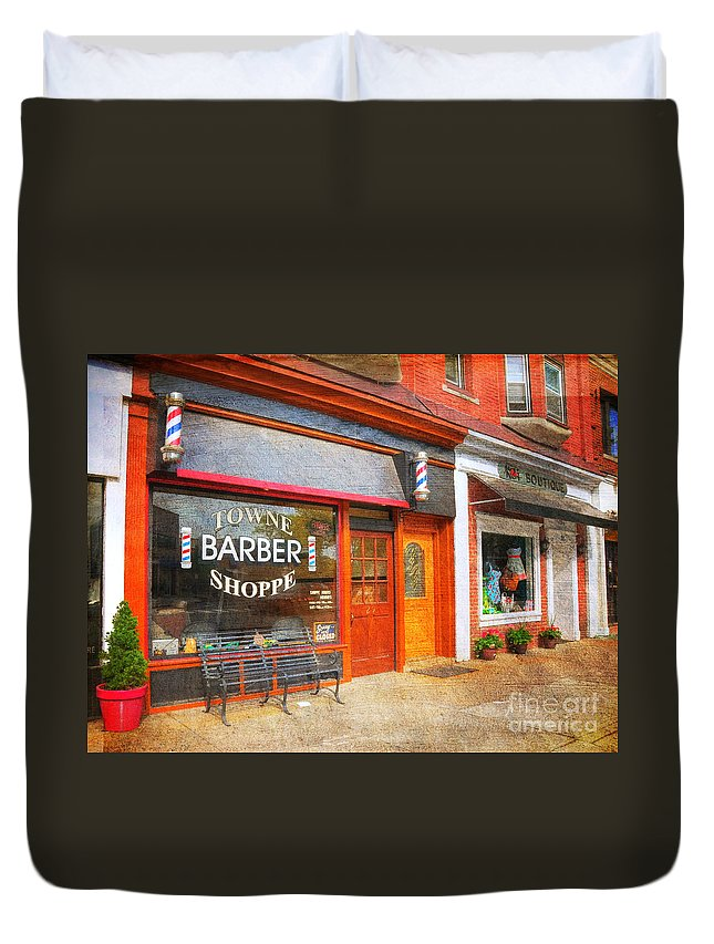 The Barber Shop Duvet Cover featuring the photograph The Barber Shop by Paul Ward