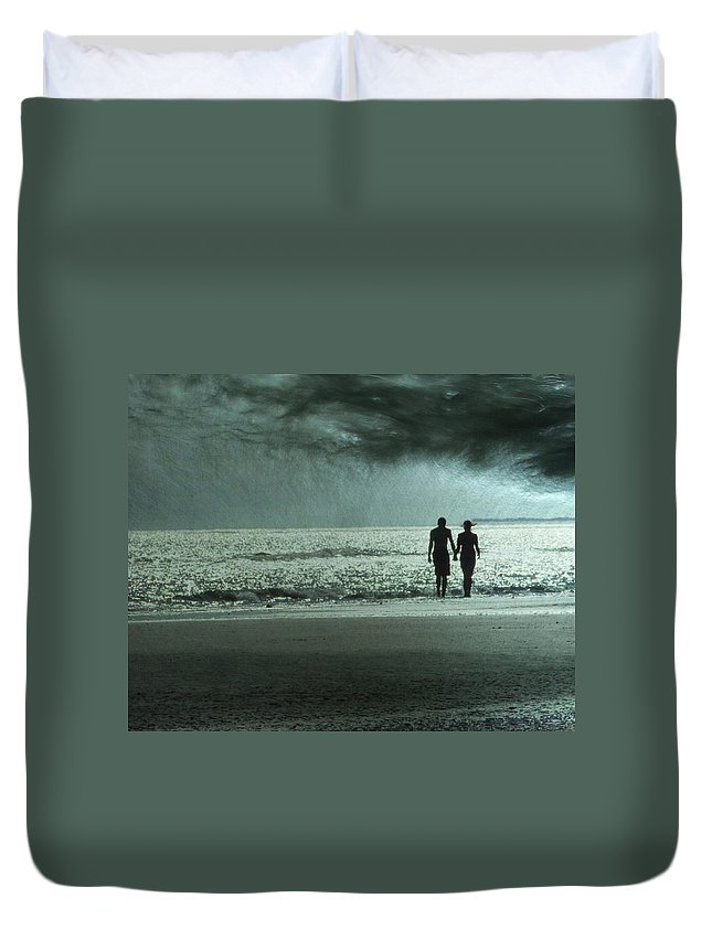 Beach Duvet Cover featuring the photograph The Beachcombers by Amy Tyler