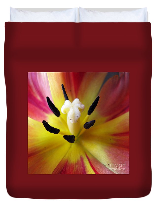 Flower Duvet Cover featuring the photograph The Beauty From Inside Square Format by Ausra Huntington nee Paulauskaite