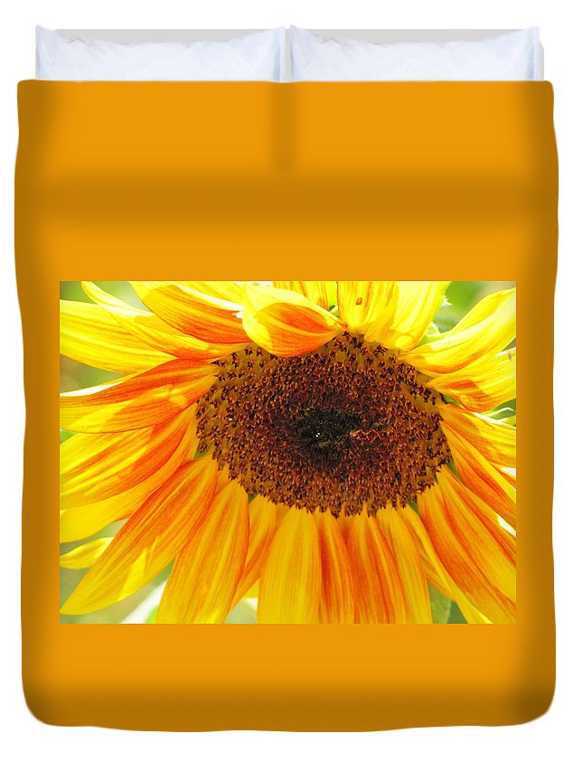 Sunflower Duvet Cover featuring the photograph The Beauty Of A Sunflower by Michelle Cassella