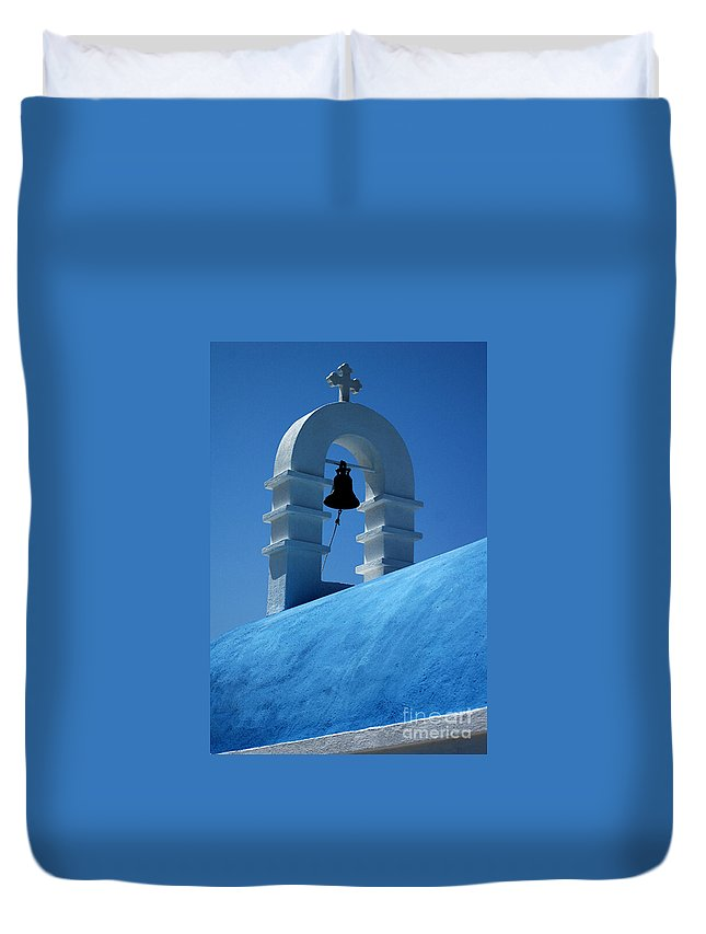 Mykonos Duvet Cover featuring the photograph The Bell Tower In Mykonos by Vivian Christopher
