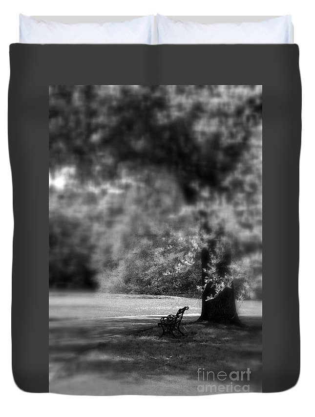 Bench Duvet Cover featuring the photograph The Bench In The Park by Susanne Van Hulst