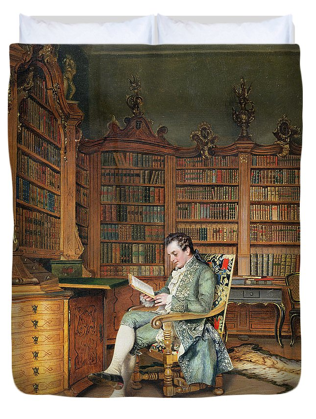 The Bibliophile Duvet Cover featuring the painting The Bibliophile by Johann Hamza