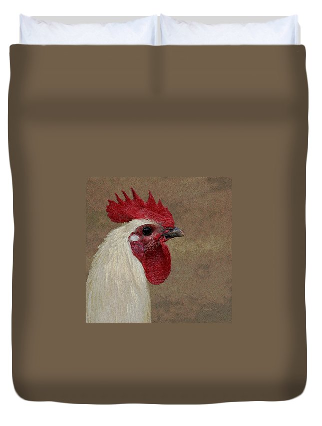 Rooster Duvet Cover featuring the photograph The Boss by Ernie Echols