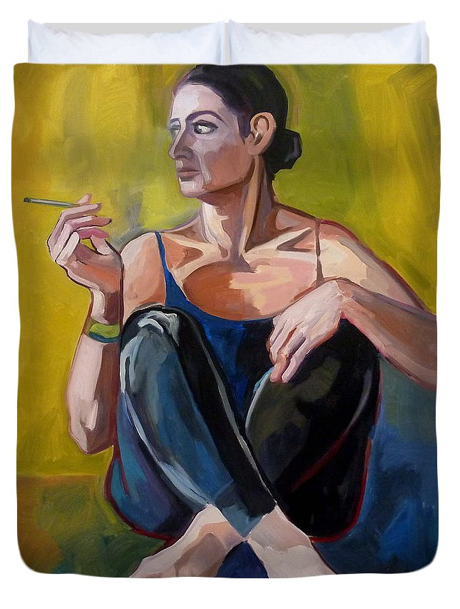 Self Portrait Duvet Cover featuring the painting The Break by Carmen Stanescu Kutzelnig