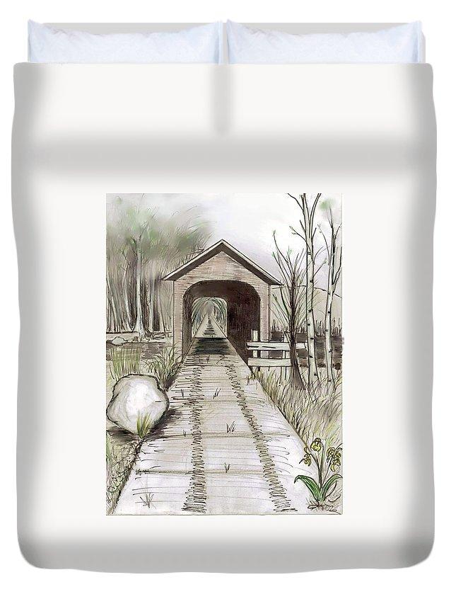 Lanscape Duvet Cover featuring the digital art The Bridge by Shere Crossman
