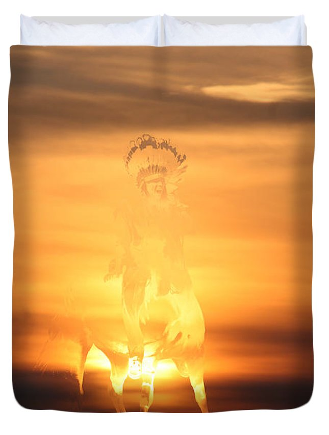 Sunset Native Aboriginal Artwork Indian Brave On Horseback War Paint Appaloosa Hunter Scout Colourful Abstract Sunrise Sky Scenery Golden Brown Yellow Saskatchewan Artist Duvet Cover featuring the photograph The Buffalo Hunter by Andrea Lawrence