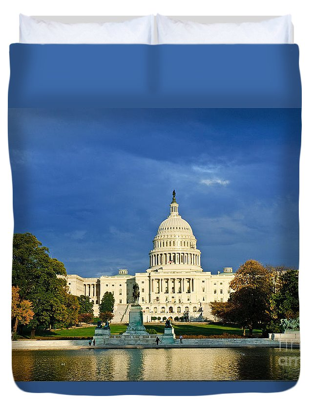 Office Duvet Cover featuring the photograph The Capitol by Jim Chamberlain