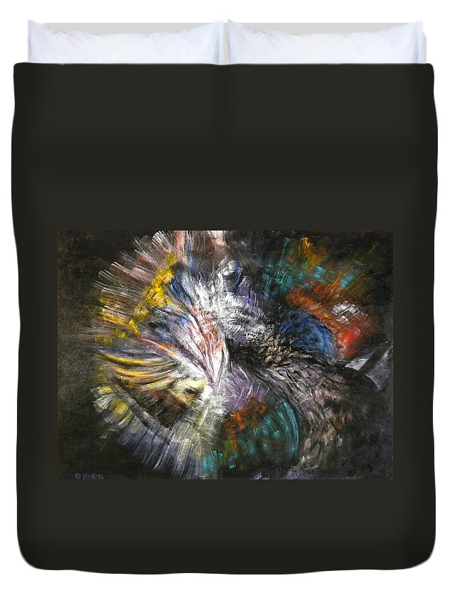 Abstract Duvet Cover featuring the painting The Chase by Pamela Stroberg