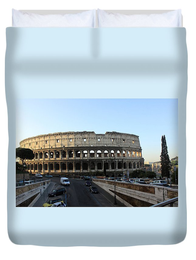 Rome Duvet Cover featuring the photograph The Colosseum in Rome by Munir Alawi
