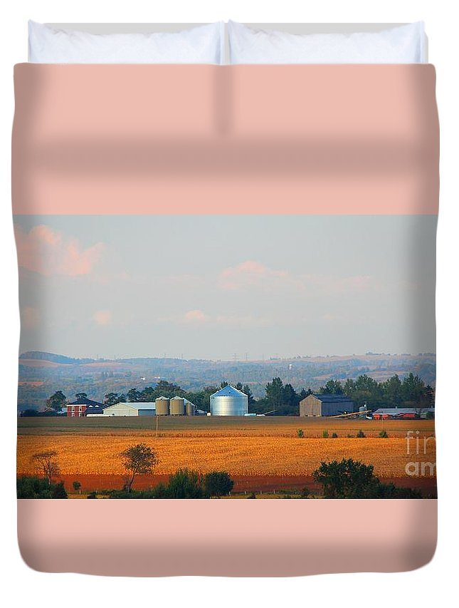 Sunset Duvet Cover featuring the photograph The Countryside by Davandra Cribbie