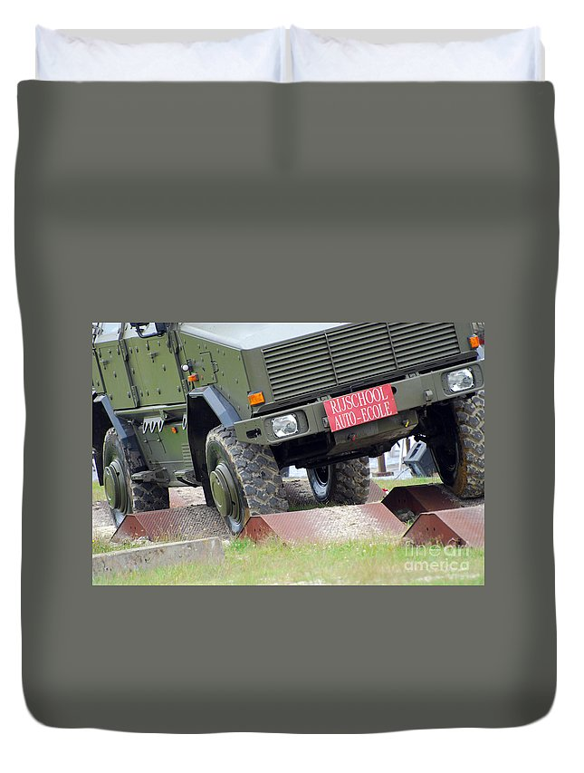 4x4 Duvet Cover featuring the photograph The Dingo 2 Mppv Of The Belgian Army by Luc De Jaeger