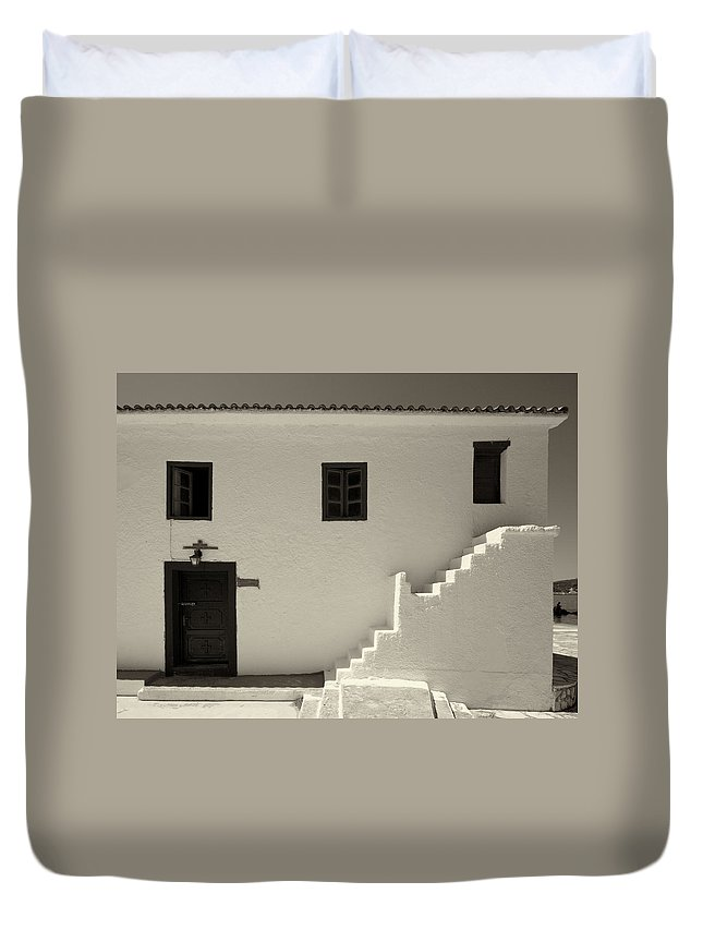 Jouko Lehto Duvet Cover featuring the photograph The Door Of The Chappel Bw by Jouko Lehto
