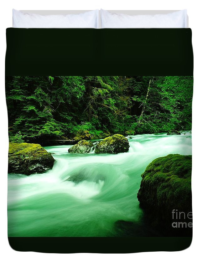 Rivers Duvet Cover featuring the photograph The Dosewallups River by Jeff Swan