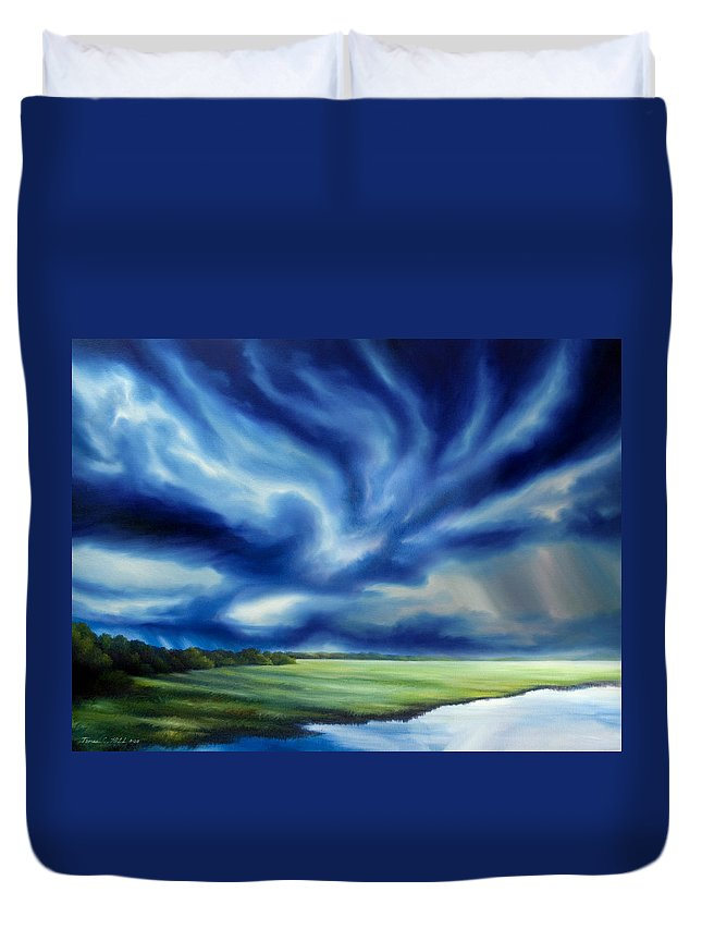 Nature; Lake; Sunset; Sunrise; Serene; Forest; Trees; Water; Ripples; Clearing; Lagoon; James Christopher Hill; Jameshillgallery.com; Foliage; Sky; Realism; Oils; Moon; Moonlight; Reflection; Blue; Lapis; Storm; Dragon; Duvet Cover featuring the painting The Dragon Storm by James Christopher Hill