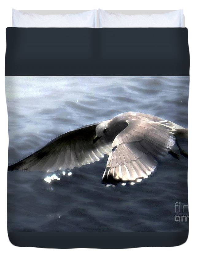 Seabirds Duvet Cover featuring the digital art The Edge Of The Fog by Dale  Ford