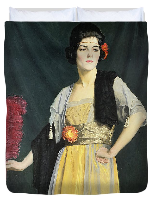 Wrap; Headband; Ostrich Feather; Madame Butterfly Duvet Cover featuring the painting The Feather Fan by William Strang