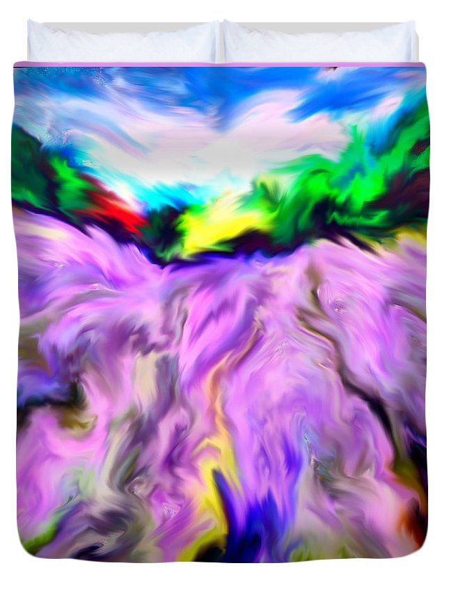Field Duvet Cover featuring the digital art The Field Of Lavender by Dragica Micki Fortuna