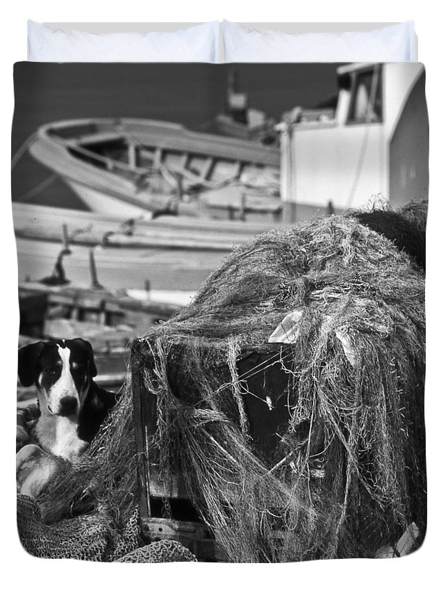 B/w Duvet Cover featuring the photograph The Fisherman's Dog IIi by Michele Mule'