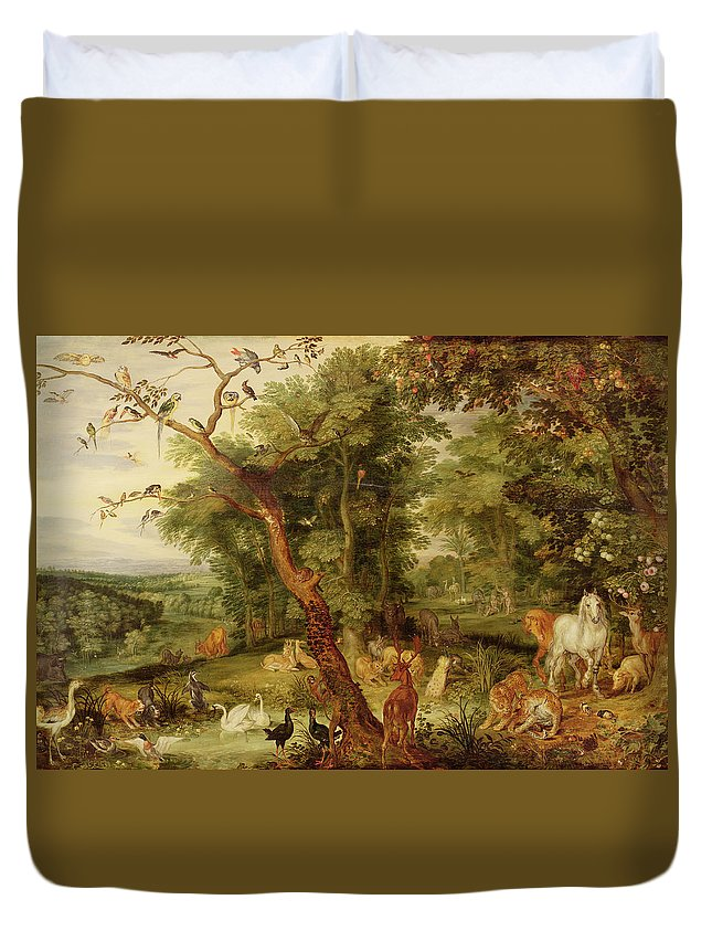 The Garden Of Eden; In The Background The Temptation Duvet Cover featuring the painting The Garden Of Eden by Jan the Elder Brueghel