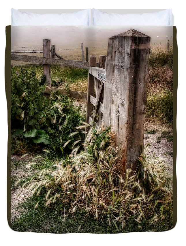 Gate Duvet Cover featuring the photograph The Gate by Ann Garrett